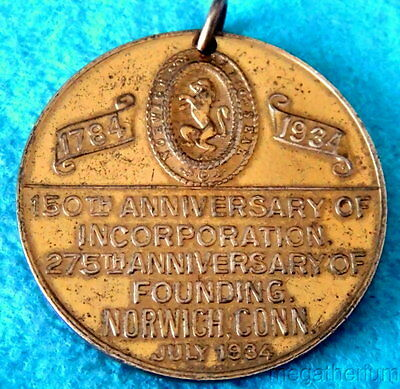 1934 Brass Token Medallion; NORWICH CT 150th Anniversary; Amer Indian On Front