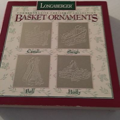 4 Longaberger Commemorative Christmas Collection Pewter Basket Ornaments