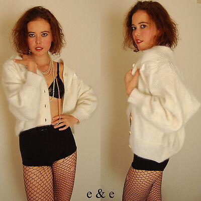 VTG 60s Winter White Yummy Angora Draped Blouson Retro Cardigan Sweater M L