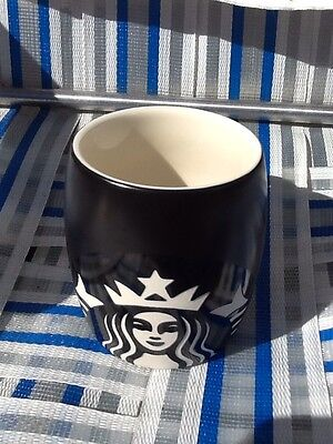 Starbucks 2012 mermaid Siren Logo Coffee Cup Etched Ceramic Black - New