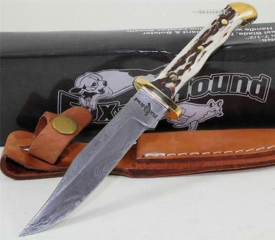 Fox-N-Hound Dakota Genuine Damascus Full Tang Skinner Skinning Hunting Knife