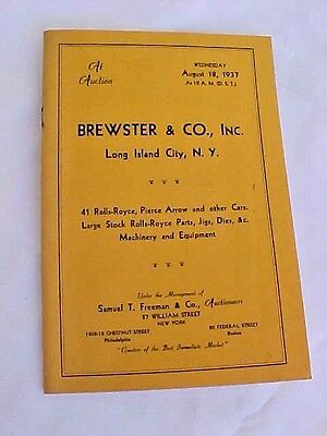 VINTAGE Brewster & Co August 1937 Auction Rolls-Royce and other cars REPRO -1974