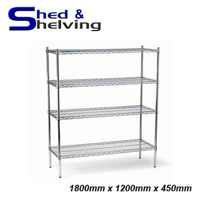 1800x1200x450mm Chrome Wire Shelving Racking Shop Display Kitchen Storage