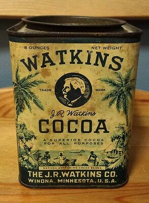 Vintage J. R. WATKINS CO. 1 LB Cocoa Litho Tin Winona, MN **GREAT Graphics**