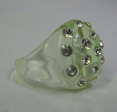 Vintage Translucent Clear Minty Green Lucite Dome Top Rhinestone Ring - Size 7