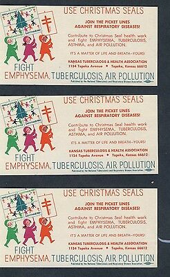 1969 Christmas Seals Labels - Fight Emphysema, TB, Pollution - NTA -  Item #3966