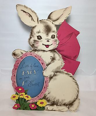 Vintage Norcross Easter Greeting Card Die Cut Rabbit Baby 1st Easter Stand Up