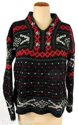 VINTAGE BLACK red green NORDIC style knit silver tone clasp JUMPER 8 10 12 14