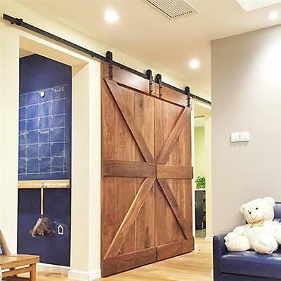 12ft Vintage Industrial Wheel Double Sliding Barn Wood Door Hardware Track Kit G