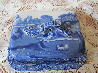 Vintage English Copeland Spode 'Italian' blue & white cheese / butter dish