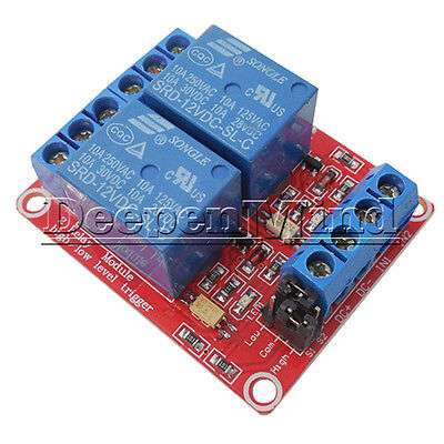 12V 2 Channel Relay Module Optocoupler Support High Low Level Trigger Arduino