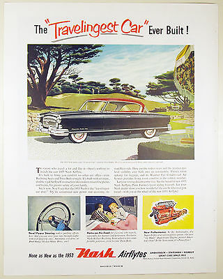 Vintage 1953 NASH AIRFLYTE Automobile Large Magazine Print Ad: TRAVELINGEST CAR
