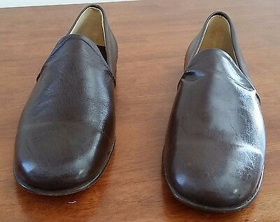 Retro 1980s Court House Australia DARK BROWN Leather Men's Slippers size 10.5