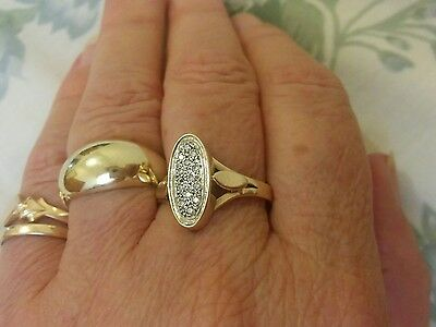 Vintage Oval Diamond Cluster Ring Solid 9ct y/gold
