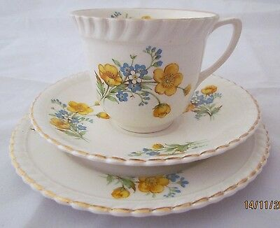 Vintage English Johnson Bros stoneware 'Meadowbrook' trio cup saucer plate