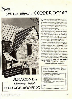 1935 Anaconda Copper Roofs Ad ---Cottage Roofing ----x775