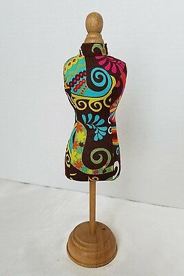 Mini Dress Form Mannequin Table Top Display Jewelry Fabric Wood 11