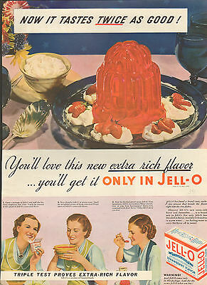 "1934 Jell-O desert food ad ""Warning"" Real Jell-O only comes in this package-/470"