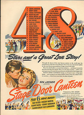 1943-Stage Door Canteen movie ad WWll movie Musical--/396