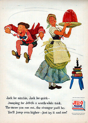 1955 Jell-o ad  ----Jack Jumps Over the Candlestick --l-912