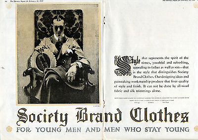 """1920 Society Brand Clothing ad """"For Men who Stay Young"""" 2 Page Centerfold--[-568"""