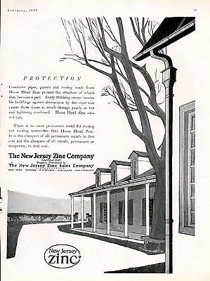 1925 New Jersey Zinc Ad --Pipes, Gutters, & Roofing -----v528