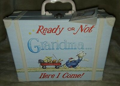 Ready or Not Grandma Here I Come!  Suitcase with Fleece Blanket Child to Cherish