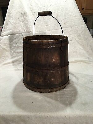 Antique Aafa Vintage Old Primitive Country Wood Firkin Barrel Pantry Bucket Pail