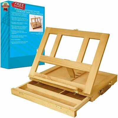 Easel Desk Art Adjustable Storage Drawer Tabletop Wood Supply Painting Stand
