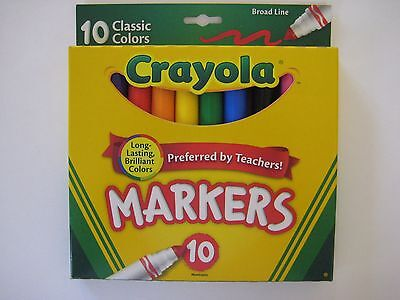 New 10 Crayola Nontoxic Classic Broad Line Markers - 10 Classic Colors 58-7722