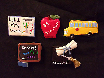 Hand Painted Ceramic School Days Magnet Set