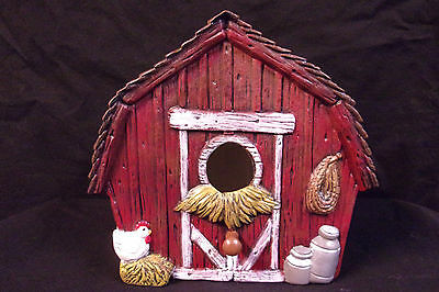 Hand Painted Ceramic Barn Bird House