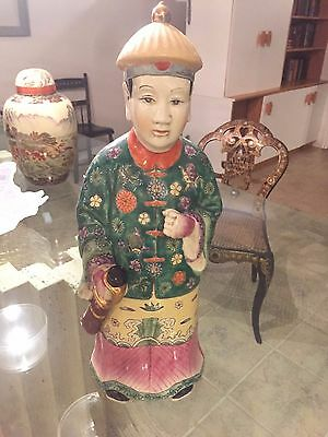 LARGE Antique Chinese Asian Porcelain QING DYNASTY Figurine Signed Stamped