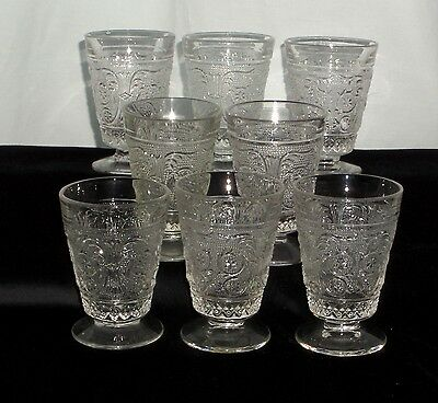 "8 Duncan & Miller SANDWICH CRYSTAL *3 3/4"" FOOTED JUICE TUMBLERS*"