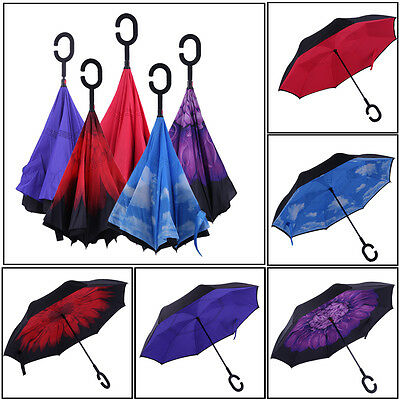 NEW Modern Upside Down Reverse Umbrella C-Handle Double Layer Inside-Out Color G