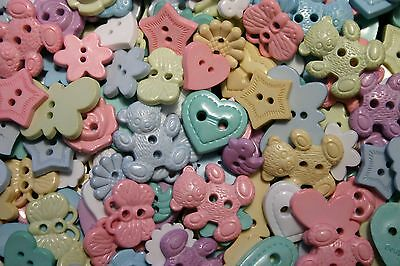 100 NOVELTY PASTEL Buttons New Great for Sewing & Craft Projects Assorted Shapes