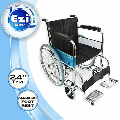Black Leather Folding Wheelchair Ezi-Care Age Care Mobility Products