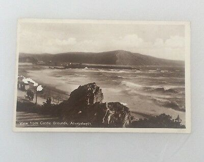 Vintage Postcard Of The View From The Castle Grounds In Aberystwyth.