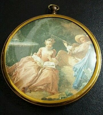 Vintage  colored Pictured framed in round gold Gillette frame w/- convex plastic
