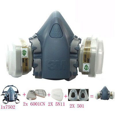 7 in 1 Set Respirator Painting Spraying Half Face Gas Mask For 3M 7502 6200 EM35