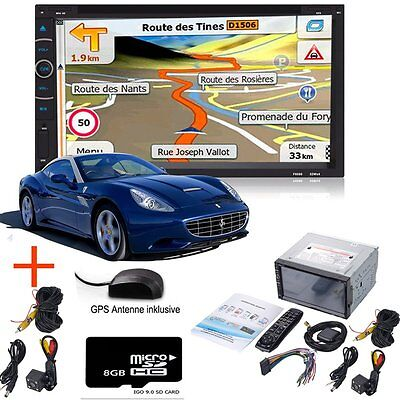 """7"""" Double 2 Din In Dash Touch Car Stereo DVD Player Radio GPS SAT NAV+Camera"""