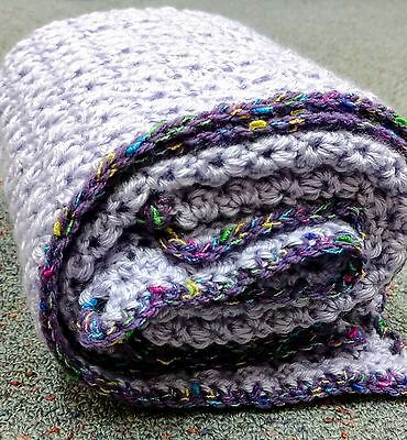 Handmade Crochet blanket purple soft acrylic easy care cot pram baby crocheted