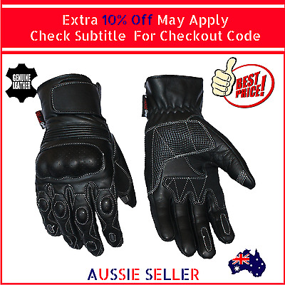 Mens Summer Leather Motorcycle Motorbike Gloves Perforated New Black Biker