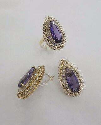 Sterling 925 Silver Jewelry Handmade Fabulous Purple Amethyst Earring & Ring Set