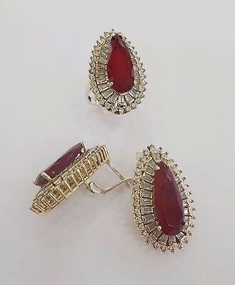 Sterling 925 Silver Jewelry Handmade Fabulous Red Ruby Earring & Ring Set