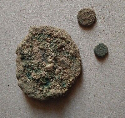 Lot of 3 Uncleaned Ancient coins, Bronze coins