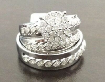 1.47 Ct Diamond Trio Set Engagement Ring White Gold Over His Hers Wedding Band