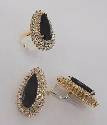 Sterling 925 Silver Jewelry Handmade Fabulous Black Onyx Earrings & Ring Set