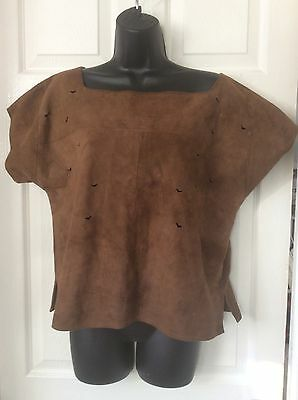 VINTAGE 80's BROWN SUEDE LEATHER TOP WITH CUT OUT DESIGN SIZE 10-12