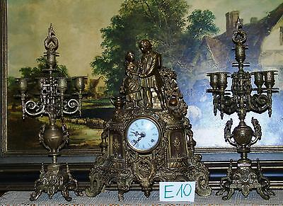 Imperial Antique Brass Clock with Candelabras